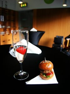 Mini burger and champagne at Fresco Bistro, Cork, Ireland