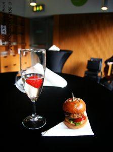 Mini burger and champagne at Fresco Bistro, Cork, Ireland