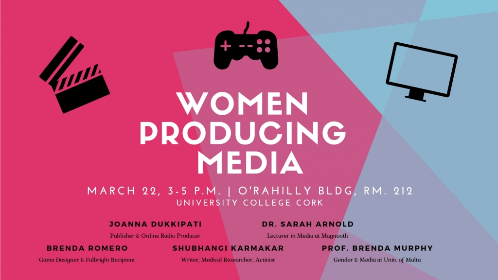 The header image for the Women Producing Media symposium on Eventbrite. It contains the dates, location, and names of the speakers.