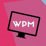 """Text """"WPM"""" inside the outline of a titled and stylised computer monitor."""